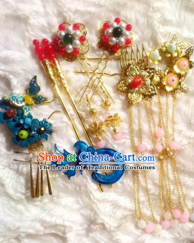 Traditional Chinese Ancient Hair Accessories Blueing Hairpins Tassel Step Shake Complete Set for Women