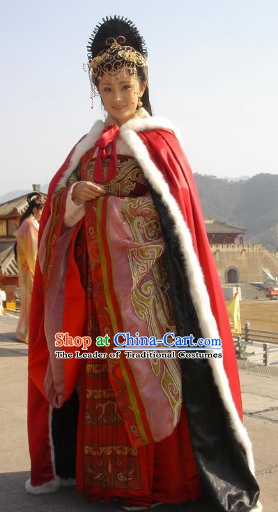 Traditional Chinese Ancient Han Dynasty Concubine Ming Wang Zhaojun Hanfu Dress Replica Costume for Women
