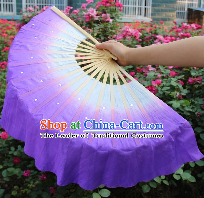 Top Grade Chinese Folk Dance Folding Fans Dance Fans Yangko Purple Silk Fans for Women