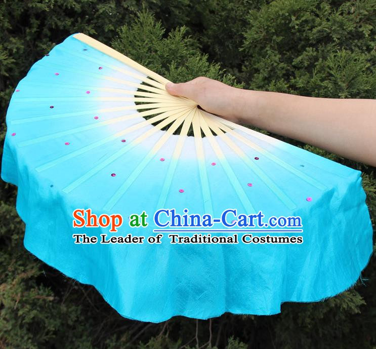 Top Grade Chinese Folk Dance Folding Fans Dance Fans Yangko Blue Silk Fans for Women