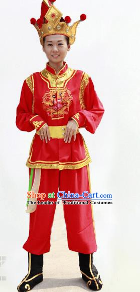 Traditional Chinese Yangge Fan Dance Costume Folk Dance Yangko Red Clothing for Women