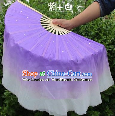 Top Grade Chinese Folk Dance Folding Fans Yangko Dance Purple Silk Ribbon Fan for Women