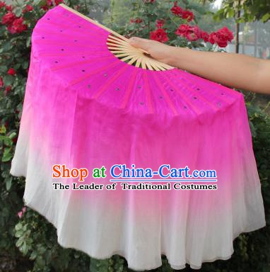 Top Grade Chinese Folk Dance Folding Fans Yangko Dance Rosy and White Silk Ribbon Fan for Women