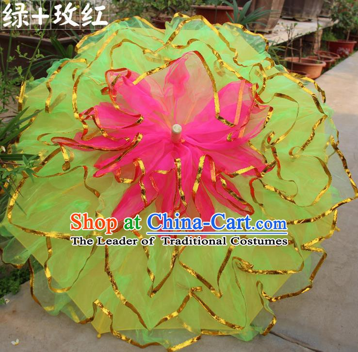Top Grade Chinese Folk Dance Umbrella Yangko Dance Classical Dance Yellow Silk Umbrella for Women