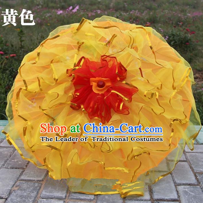 Top Grade Chinese Folk Dance Yellow Umbrella Yangko Dance Classical Dance Silk Umbrella for Women