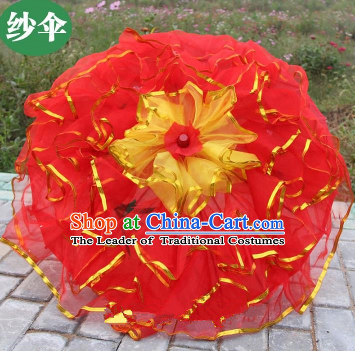 Top Grade Chinese Folk Dance Red Umbrella Yangko Dance Classical Dance Silk Umbrella for Women