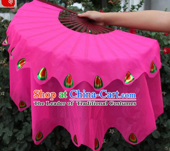 Chinese Handmade Folk Dance Peacock Folding Fans Yangko Dance Rosy Silk Ribbon Fan for Women