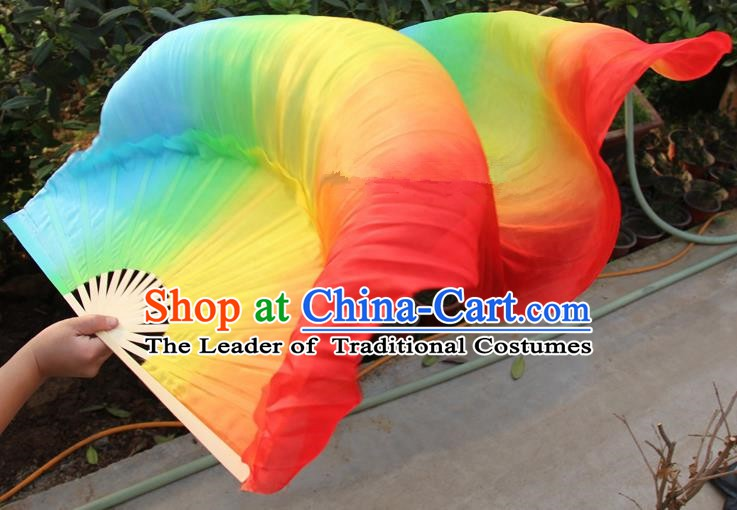 Chinese Handmade Folk Dance Folding Fans Yangko Dance Colorful Silk Ribbon Fan for Women
