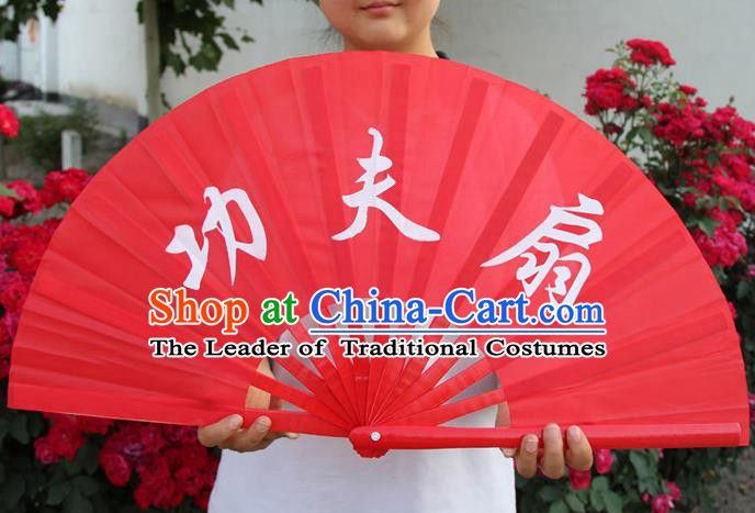 Chinese Handmade Folk Dance Folding Fans Yangko Dance Martial Arts Red Fan for Women