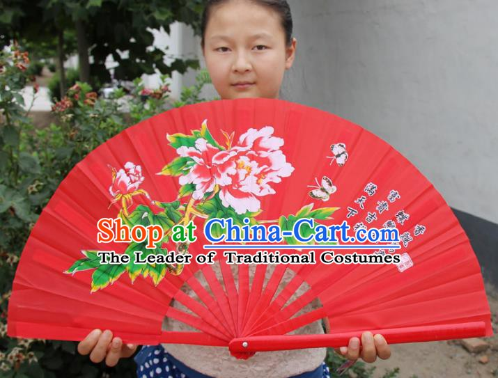 Chinese Handmade Folk Dance Folding Fans Yangko Dance Printing Peony Tai Chi Red Fan for Women