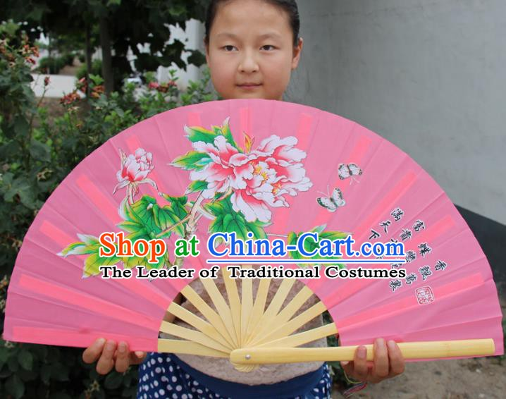 Chinese Handmade Folk Dance Folding Fans Yangko Dance Printing Peony Tai Chi Pink Fan for Women