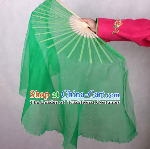 Chinese Handmade Folk Dance Green Ribbon Folding Fans Yangko Dance Classical Fans for Women