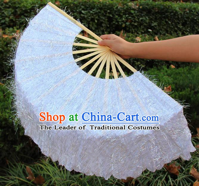 Chinese Handmade Folk Dance White Folding Fans Yangko Dance Classical Dance Fans for Women