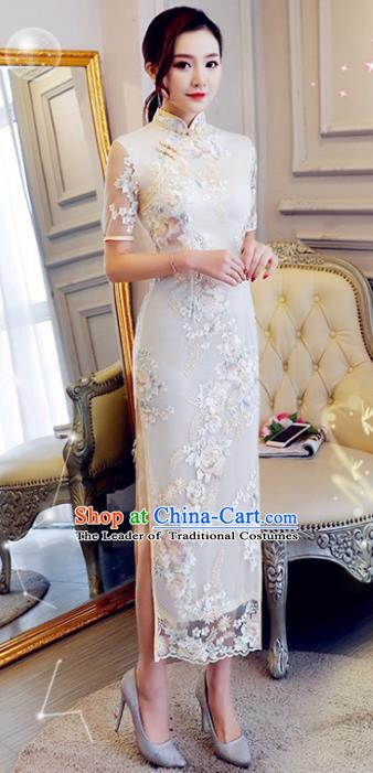Chinese Traditional Elegant Cheongsam Embroidery White Qipao Dress National Costume for Women