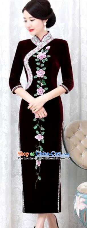Chinese Traditional Elegant Purplish Red Velvet Cheongsam Embroidery Qipao Dress National Costume for Women