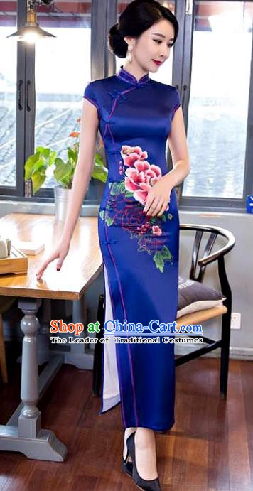 Chinese Traditional Elegant Printing Peony Royalblue Silk Cheongsam National Costume Qipao Dress for Women