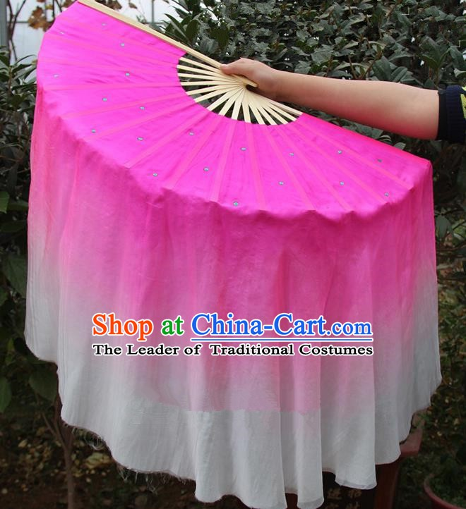 Chinese Handmade Folk Dance Rosy Ribbons Folding Fans Yangko Dance Classical Dance Fans for Women