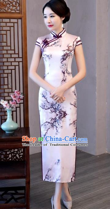 Chinese Traditional Printing Plum Blossom Elegant Pink Cheongsam National Costume Silk Qipao Dress for Women