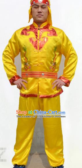 Traditional Chinese Yangge Fan Dance Costume Folk Dance Lion Dance Yangko Yellow Clothing for Men