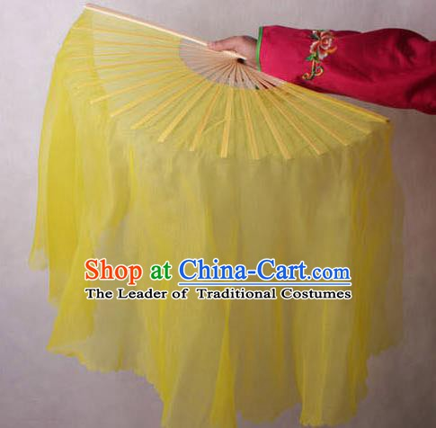 Chinese Handmade Folk Dance Yellow Ribbon Folding Fans Yangko Dance Classical Fans for Women