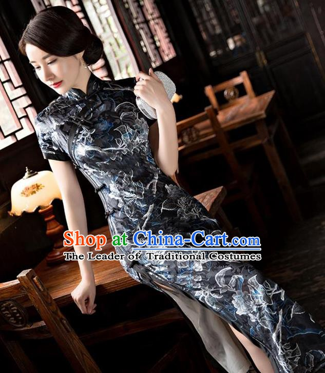 Chinese Traditional Elegant Black Pleuche Cheongsam National Costume Qipao Dress for Women