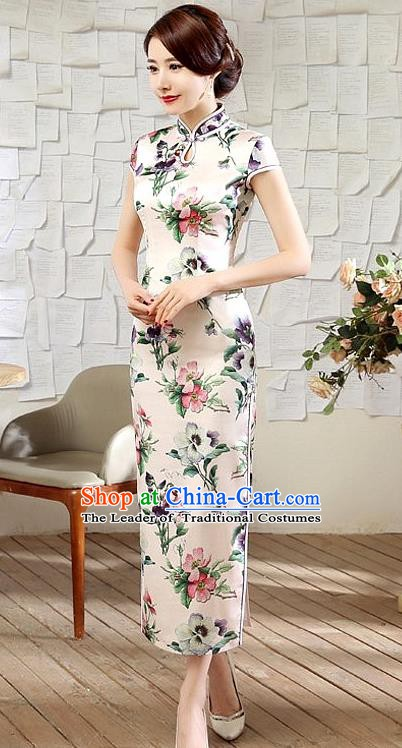 Chinese Traditional Elegant Printing Peach Blossom Cheongsam National Costume Silk Qipao Dress for Women
