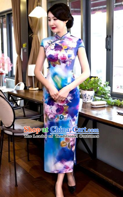 Chinese Traditional Elegant Retro Cheongsam National Costume Printing Blue Qipao Dress for Women