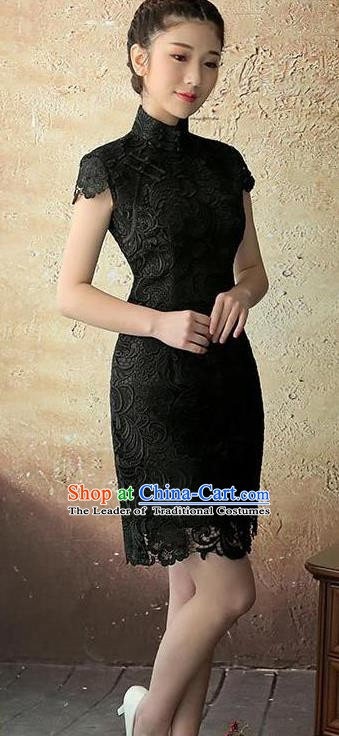 Chinese Traditional Elegant Retro Black Lace Cheongsam National Costume Qipao Dress for Women