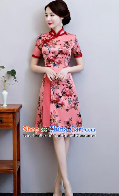 Chinese Traditional Elegant Pink Watered Gauze Cheongsam National Costume Printing Qipao Dress for Women
