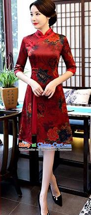 Chinese Traditional Elegant Red Watered Gauze Cheongsam National Costume Printing Qipao Dress for Women