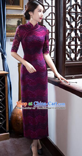 Chinese Traditional Elegant Purple Lace Cheongsam National Costume Retro Qipao Dress for Women