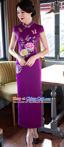 Chinese Traditional Elegant Purple Silk Cheongsam National Costume Retro Printing Peony Butterfly Qipao Dress for Women