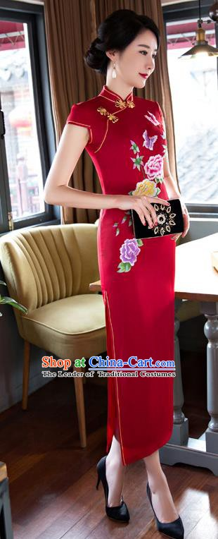 Chinese Traditional Elegant Red Silk Cheongsam National Costume Retro Printing Peony Butterfly Qipao Dress for Women