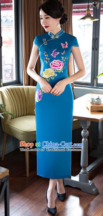 Chinese Traditional Elegant Blue Silk Cheongsam National Costume Retro Printing Peony Butterfly Qipao Dress for Women