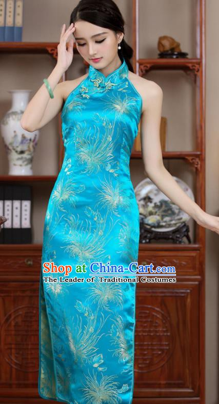 Top Grade Chinese National Costume Elegant Blue Brocade Cheongsam Tang Suit Qipao Dress for Women