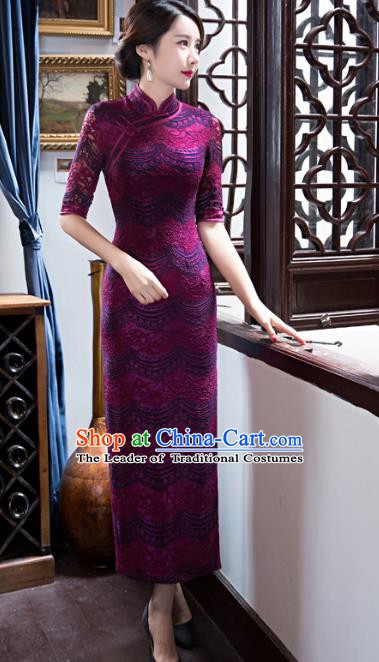 Chinese Traditional Elegant Cheongsam National Costume Retro Purple Lace Qipao Dress for Women