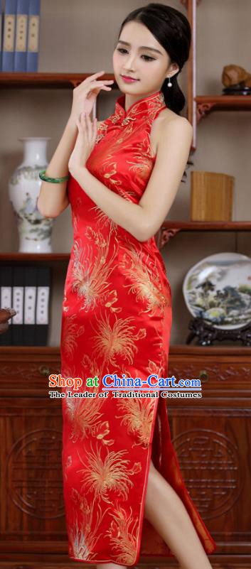Top Grade Chinese National Costume Elegant Red Brocade Cheongsam Tang Suit Qipao Dress for Women