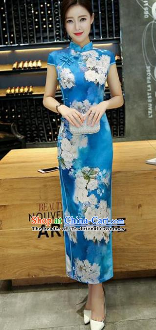 Chinese Traditional Elegant Silk Cheongsam National Costume Retro Printing Blue Qipao Dress for Women