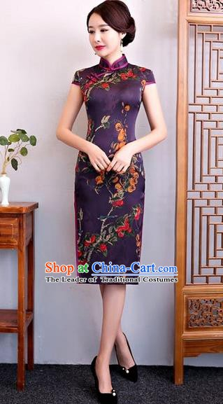 Chinese Traditional Elegant Silk Cheongsam Purple Full Dress National Costume Retro Printing Qipao for Women