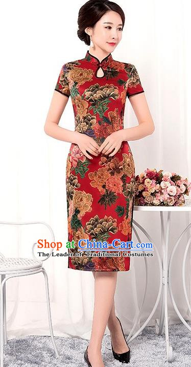 Chinese Traditional Elegant Retro Cheongsam National Costume Qipao Dress for Women