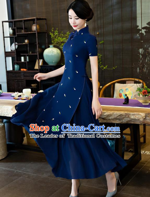 Top Grade Chinese National Costume Elegant Cheongsam Tang Suit Navy Qipao Dress for Women