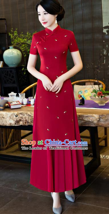 Top Grade Chinese National Costume Elegant Cheongsam Tang Suit Red Qipao Dress for Women