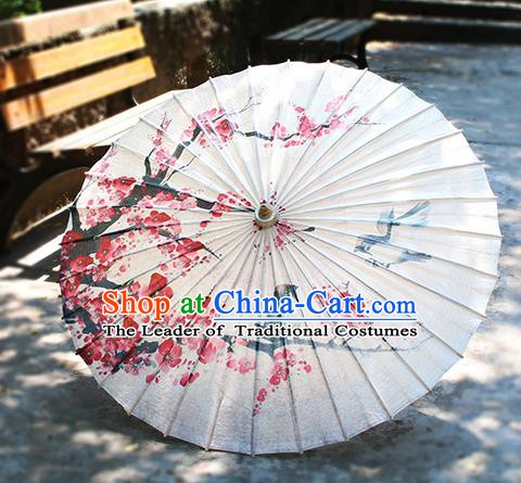 Chinese Handmade Paper Umbrella Folk Dance Painting Plum Blossom Oil-paper Umbrella Yangko Umbrella