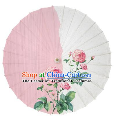 Chinese Handmade Paper Umbrella Folk Dance Painting Rose Oil-paper Umbrella Yangko Umbrella