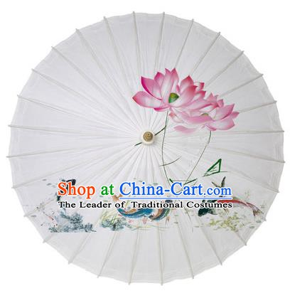 Chinese Handmade Paper Umbrella Folk Dance Printing Lotus Fish Oil-paper Umbrella Yangko Umbrella