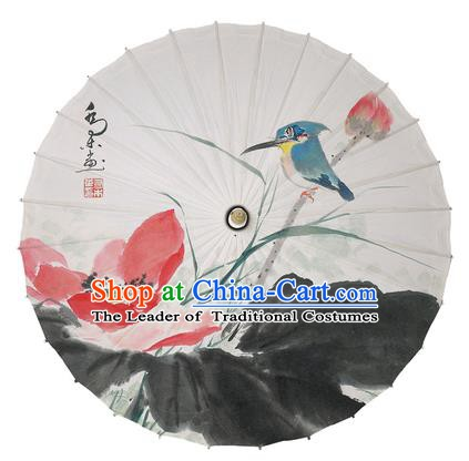 Chinese Handmade Paper Umbrella Folk Dance Ink Painting Lotus Oil-paper Umbrella Yangko Umbrella