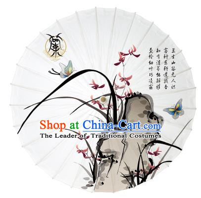 Chinese Traditional Paper Umbrella Folk Dance Handmade Painting Orchid Oil-paper Umbrella Yangko Umbrella