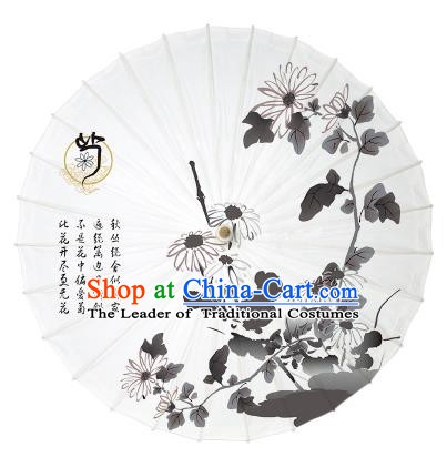 Chinese Traditional Paper Umbrella Folk Dance Handmade Painting Chrysanthemum Oil-paper Umbrella Yangko Umbrella