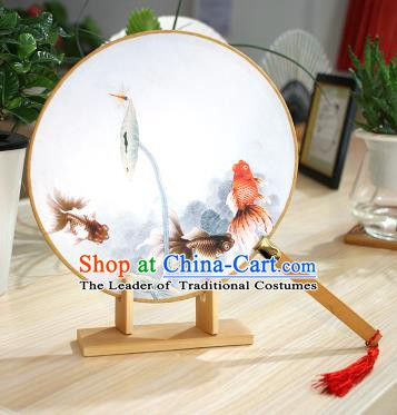 Chinese Traditional Round Fans Handmade Printing Goldfish Circular Fan China Ancient Palace Fans