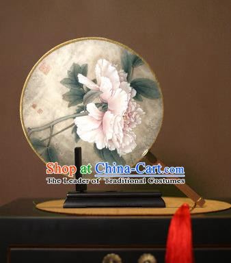 Chinese Traditional Circular Fans Handmade Printing Peony Round Fan China Ancient Palace Dance Fans